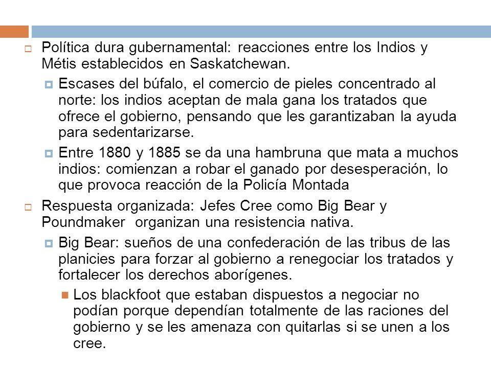 Política dura gubernamental: reacciones entre los Indios y Métis establecidos en Saskatchewan. Escases del búfalo, el comercio de pieles concentrado a