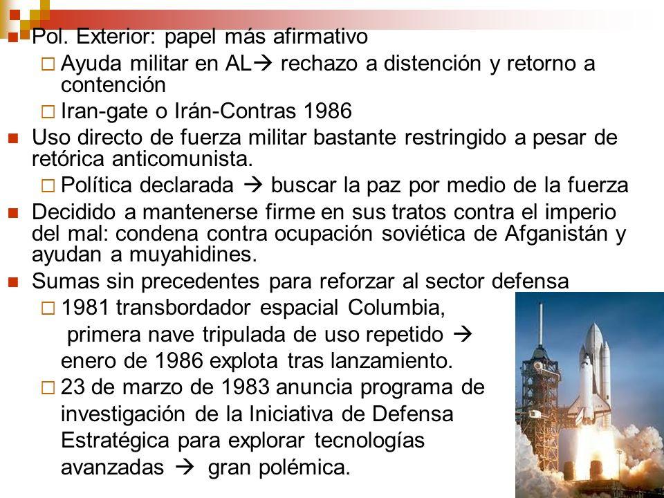 Pol. Exterior: papel más afirmativo Ayuda militar en AL rechazo a distención y retorno a contención Iran-gate o Irán-Contras 1986 Uso directo de fuerz