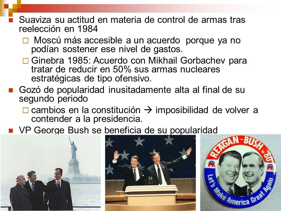 14 Suaviza su actitud en materia de control de armas tras reelección en 1984 Moscú más accesible a un acuerdo porque ya no podían sostener ese nivel d