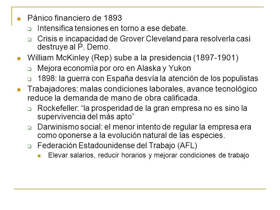 Pánico financiero de 1893 Intensifica tensiones en torno a ese debate. Crisis e incapacidad de Grover Cleveland para resolverla casi destruye al P. De