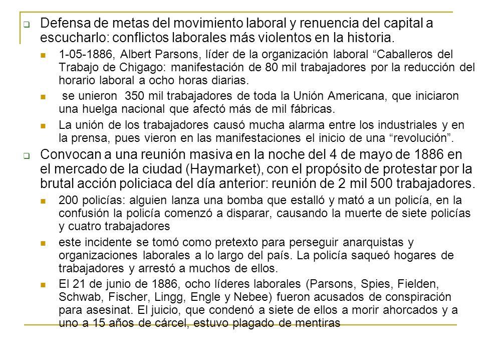 Defensa de metas del movimiento laboral y renuencia del capital a escucharlo: conflictos laborales más violentos en la historia. 1-05-1886, Albert Par