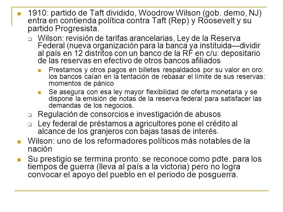1910: partido de Taft dividido, Woodrow Wilson (gob. demo, NJ) entra en contienda política contra Taft (Rep) y Roosevelt y su partido Progresista. Wil