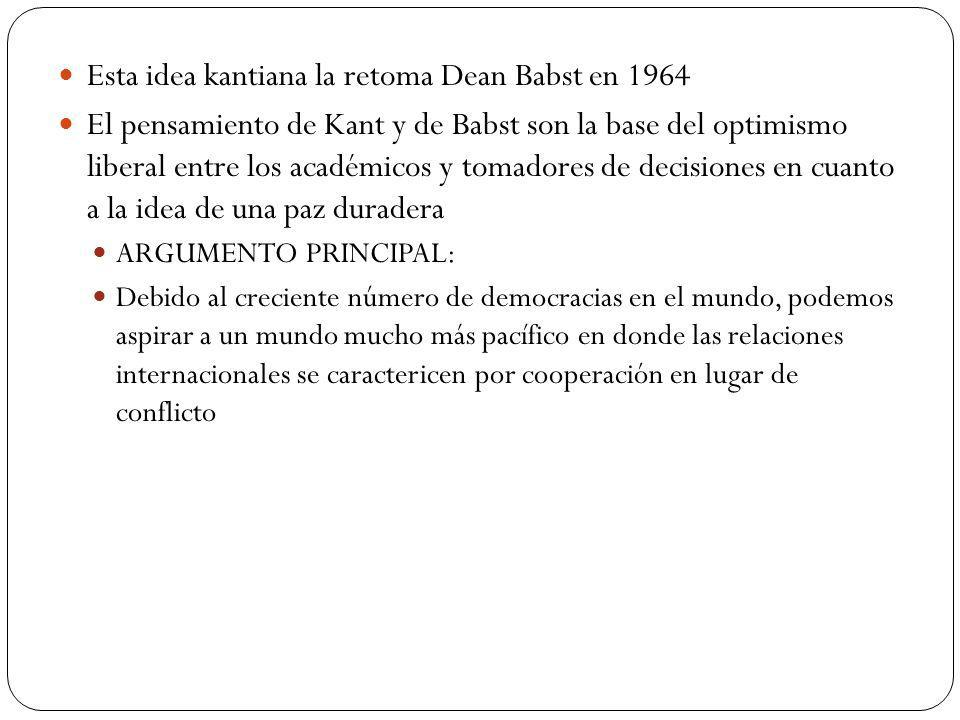 Esta idea kantiana la retoma Dean Babst en 1964 El pensamiento de Kant y de Babst son la base del optimismo liberal entre los académicos y tomadores d