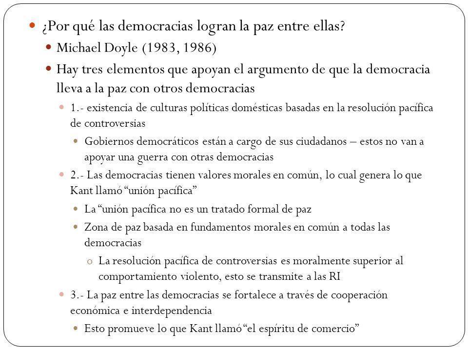 ¿Por qué las democracias logran la paz entre ellas? Michael Doyle (1983, 1986) Hay tres elementos que apoyan el argumento de que la democracia lleva a