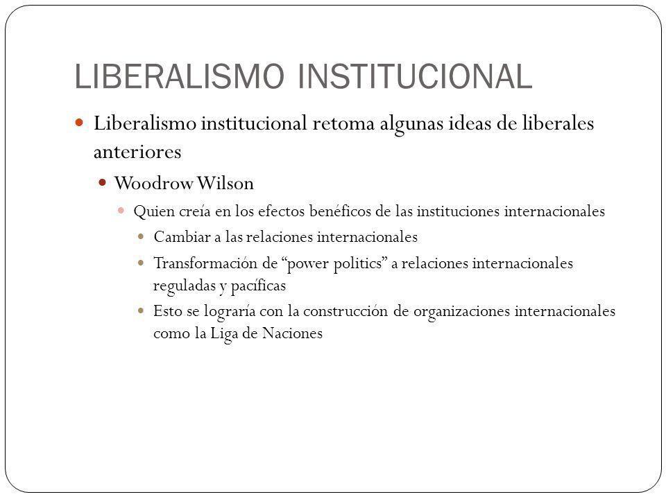 LIBERALISMO INSTITUCIONAL Liberalismo institucional retoma algunas ideas de liberales anteriores Woodrow Wilson Quien creía en los efectos benéficos d
