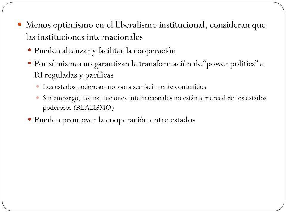 Menos optimismo en el liberalismo institucional, consideran que las instituciones internacionales Pueden alcanzar y facilitar la cooperación Por sí mi
