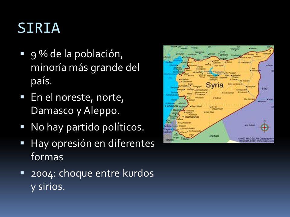 SIRIA 9 % de la población, minoría más grande del país. En el noreste, norte, Damasco y Aleppo. No hay partido políticos. Hay opresión en diferentes f