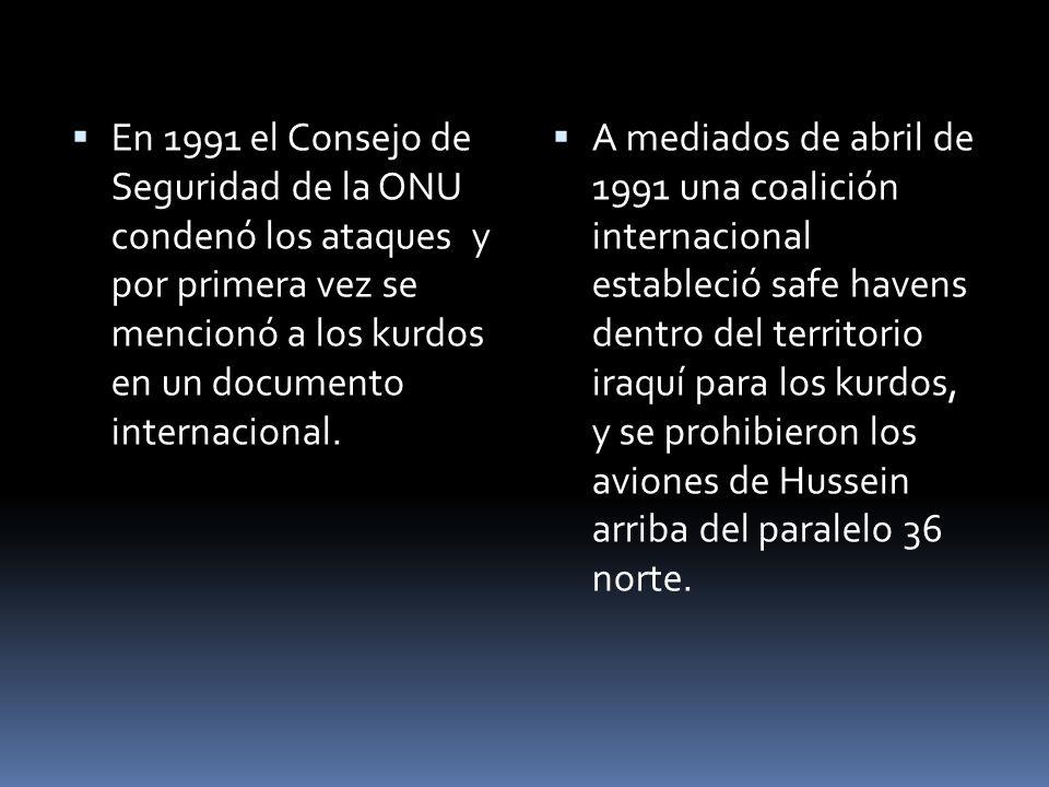 En 1991 el Consejo de Seguridad de la ONU condenó los ataques y por primera vez se mencionó a los kurdos en un documento internacional. A mediados de
