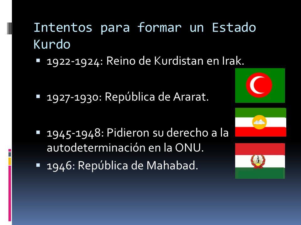 Intentos para formar un Estado Kurdo 1922-1924: Reino de Kurdistan en Irak. 1927-1930: República de Ararat. 1945-1948: Pidieron su derecho a la autode