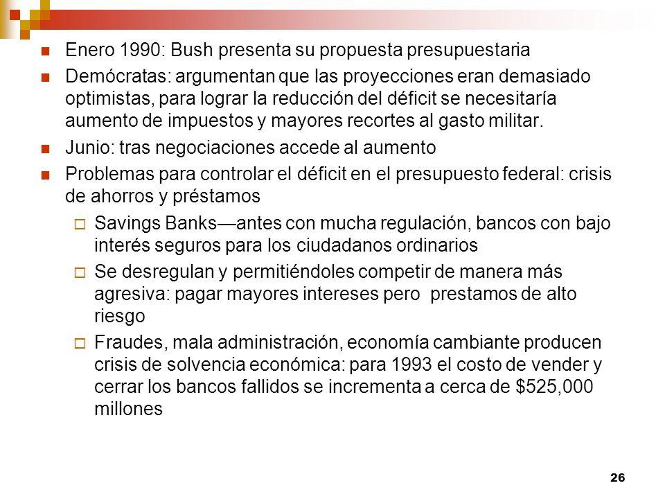 Enero 1990: Bush presenta su propuesta presupuestaria Demócratas: argumentan que las proyecciones eran demasiado optimistas, para lograr la reducción