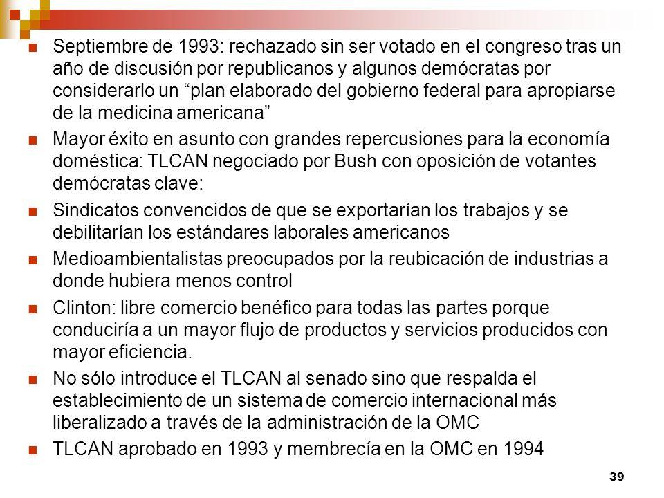 Septiembre de 1993: rechazado sin ser votado en el congreso tras un año de discusión por republicanos y algunos demócratas por considerarlo un plan el