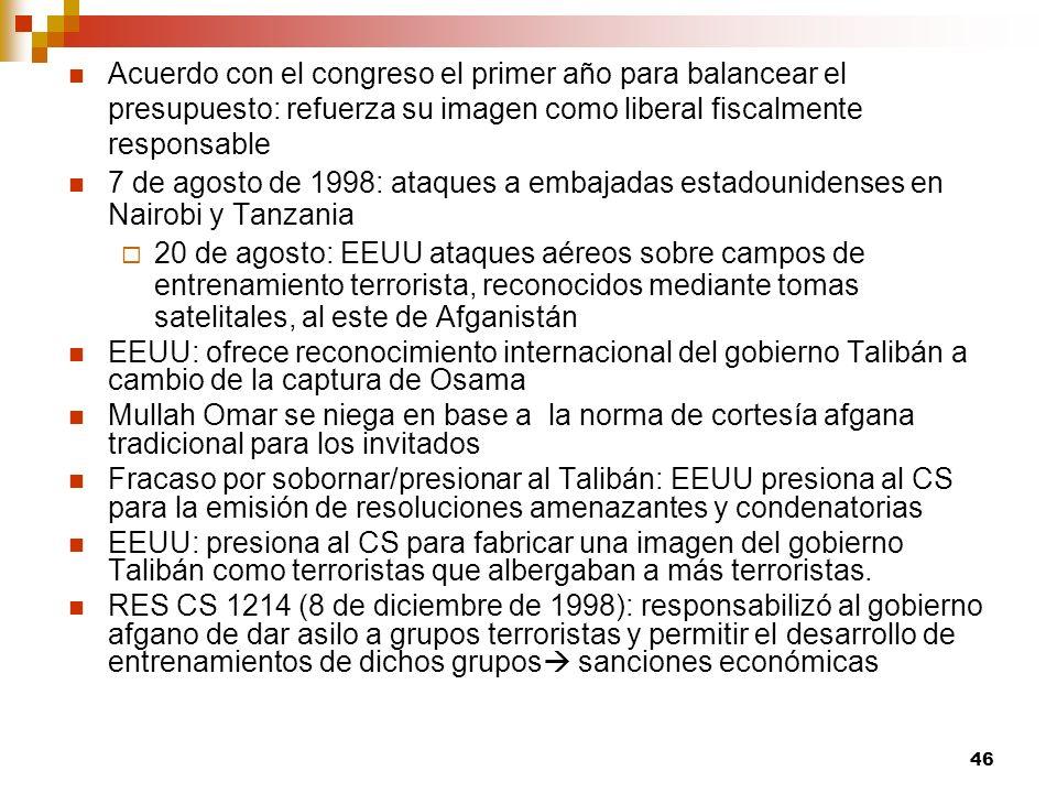 Acuerdo con el congreso el primer año para balancear el presupuesto: refuerza su imagen como liberal fiscalmente responsable 7 de agosto de 1998: ataq