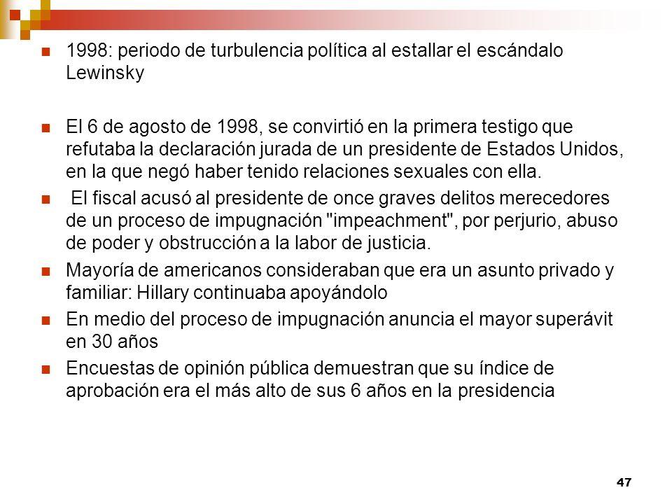 1998: periodo de turbulencia política al estallar el escándalo Lewinsky El 6 de agosto de 1998, se convirtió en la primera testigo que refutaba la dec