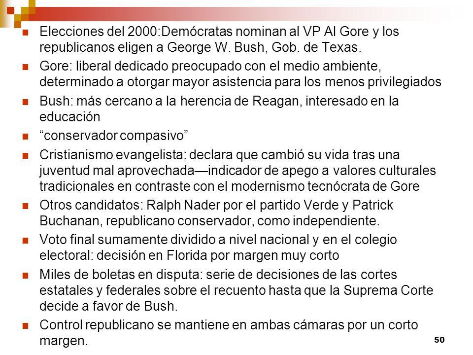Elecciones del 2000:Demócratas nominan al VP Al Gore y los republicanos eligen a George W. Bush, Gob. de Texas. Gore: liberal dedicado preocupado con