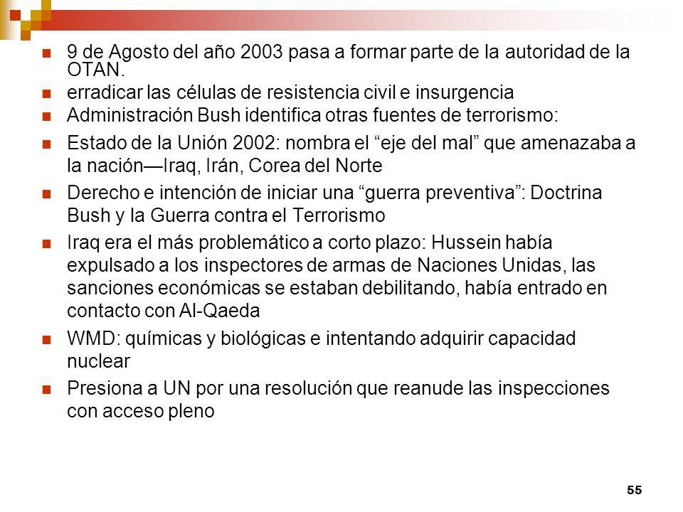 9 de Agosto del año 2003 pasa a formar parte de la autoridad de la OTAN. erradicar las células de resistencia civil e insurgencia Administración Bush