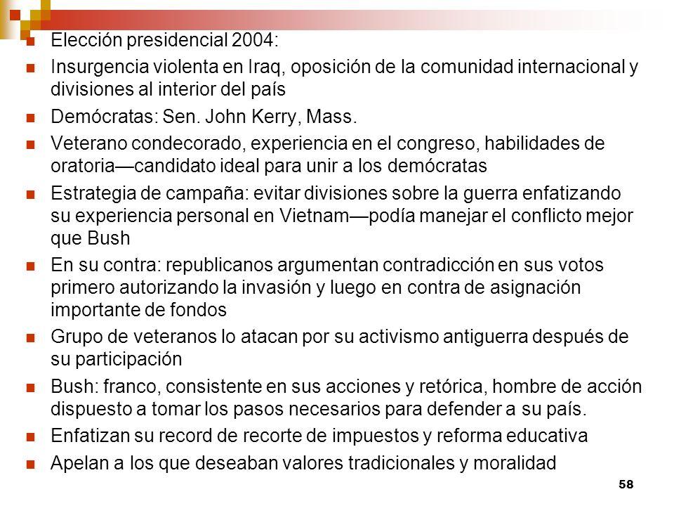 Elección presidencial 2004: Insurgencia violenta en Iraq, oposición de la comunidad internacional y divisiones al interior del país Demócratas: Sen. J