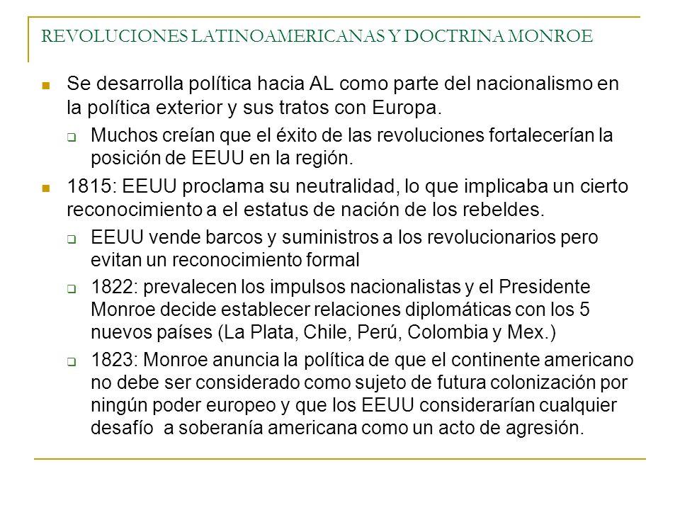 REVOLUCIONES LATINOAMERICANAS Y DOCTRINA MONROE Se desarrolla política hacia AL como parte del nacionalismo en la política exterior y sus tratos con Europa.