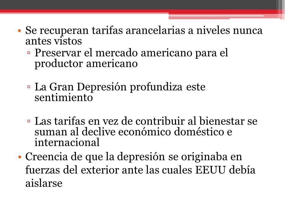 Se recuperan tarifas arancelarias a niveles nunca antes vistos Preservar el mercado americano para el productor americano La Gran Depresión profundiza