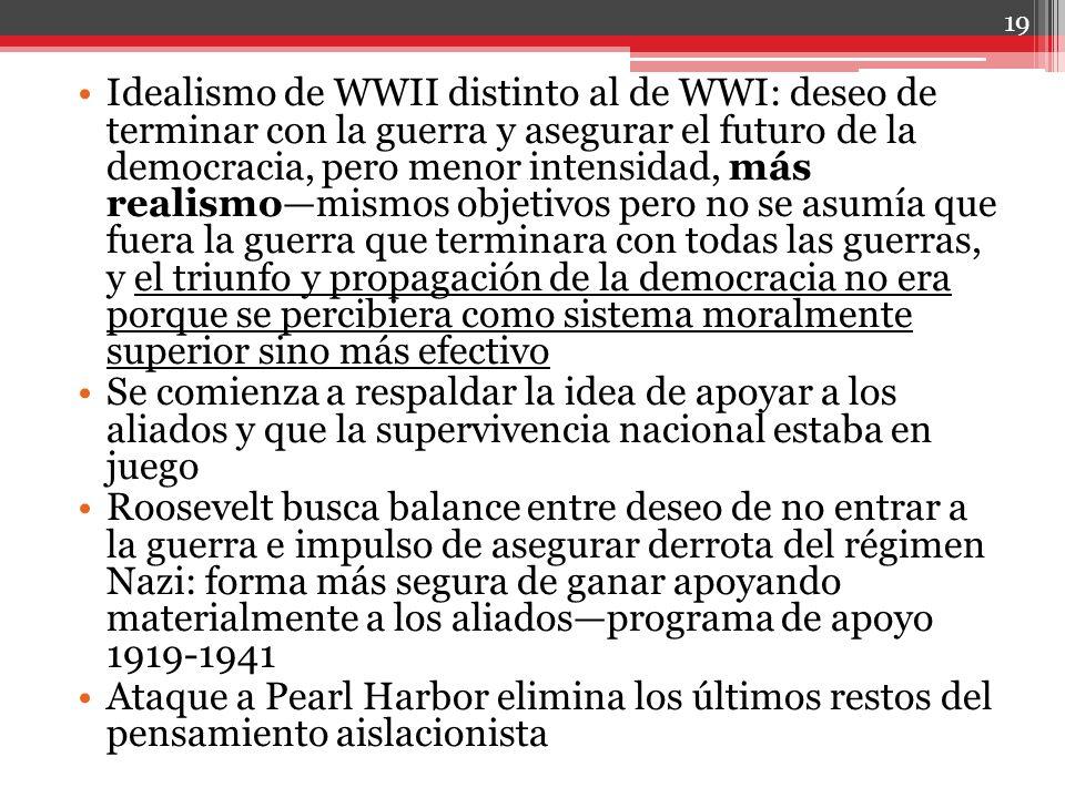 Idealismo de WWII distinto al de WWI: deseo de terminar con la guerra y asegurar el futuro de la democracia, pero menor intensidad, más realismomismos