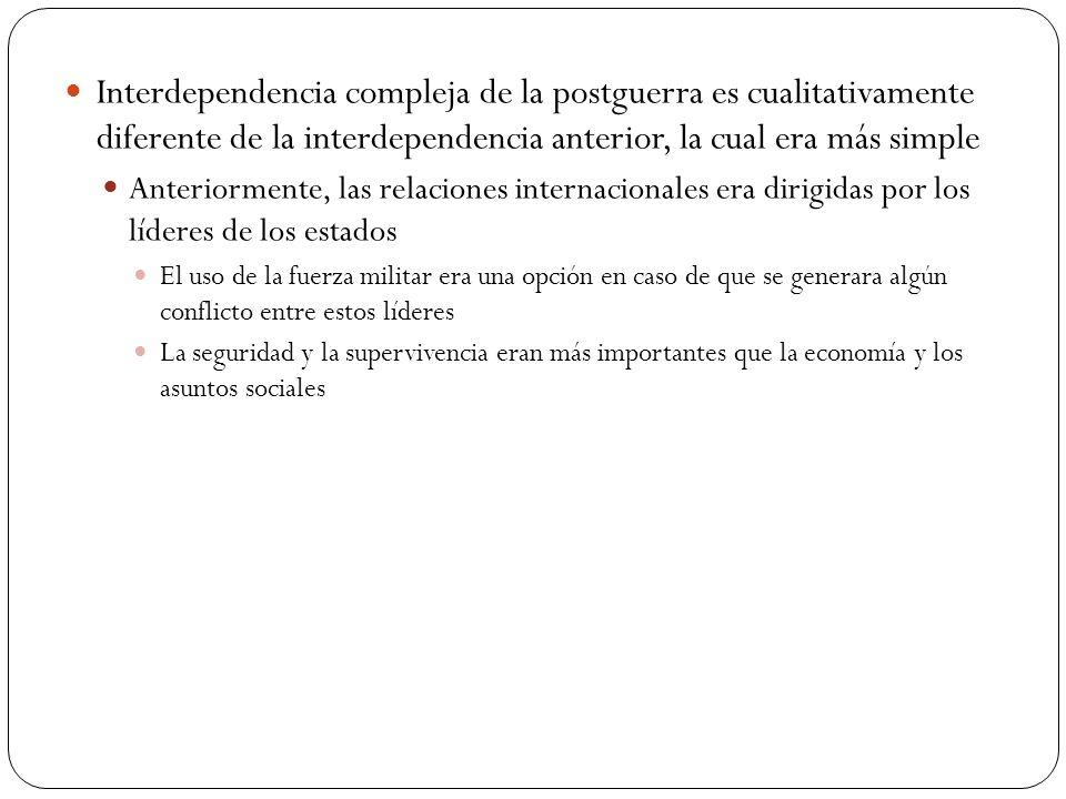 Interdependencia compleja de la postguerra es cualitativamente diferente de la interdependencia anterior, la cual era más simple Anteriormente, las re