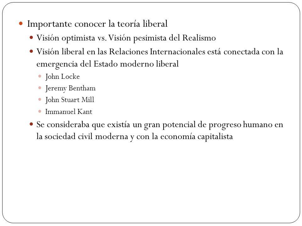 Importante conocer la teoría liberal Visión optimista vs. Visión pesimista del Realismo Visión liberal en las Relaciones Internacionales está conectad