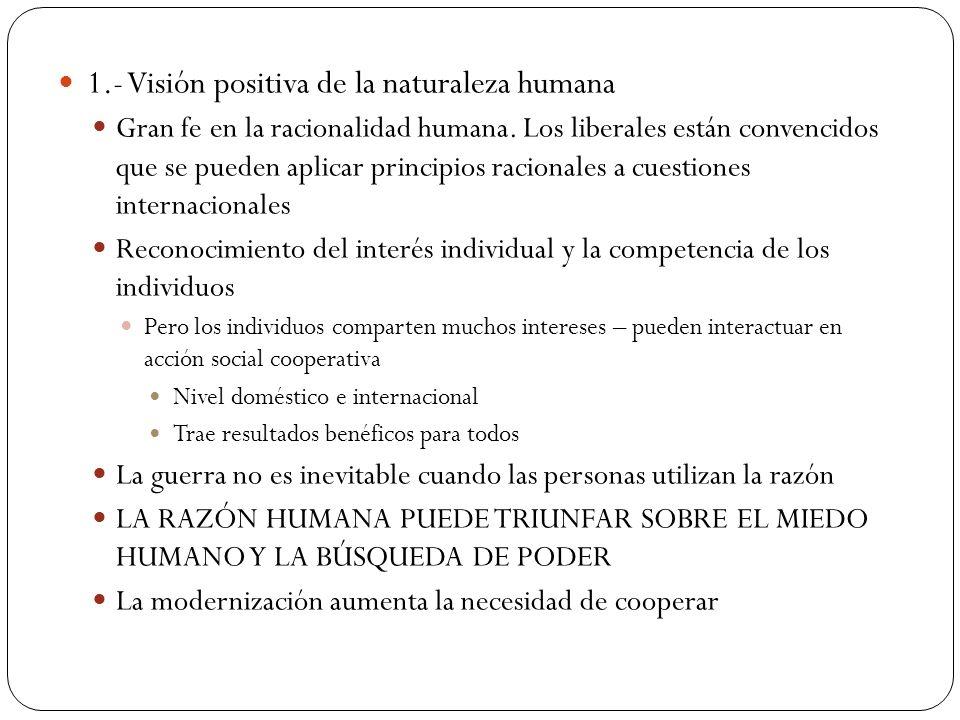 1.- Visión positiva de la naturaleza humana Gran fe en la racionalidad humana. Los liberales están convencidos que se pueden aplicar principios racion