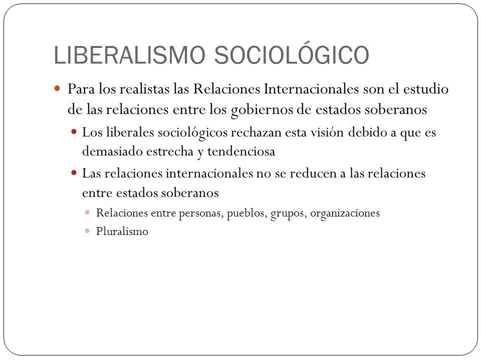 LIBERALISMO SOCIOLÓGICO Para los realistas las Relaciones Internacionales son el estudio de las relaciones entre los gobiernos de estados soberanos Lo