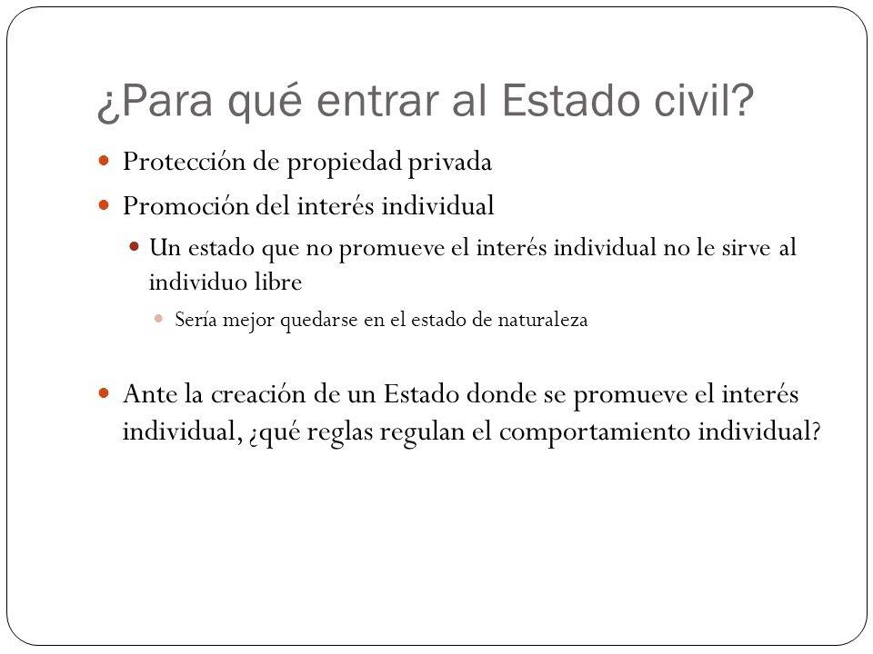 ¿Para qué entrar al Estado civil? Protección de propiedad privada Promoción del interés individual Un estado que no promueve el interés individual no