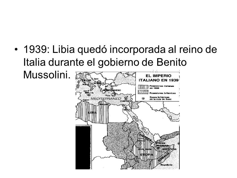 1953: tras el ingreso del país en la Liga Árabe, se implantan bases extranjeras en Libia Estados Unidos y el Reino Unido fueron autorizados a apostar tropas y sus influencias económicas se hicieron cada vez más poderosas.