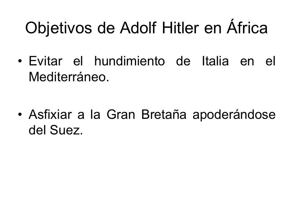 Objetivos de Adolf Hitler en África Evitar el hundimiento de Italia en el Mediterráneo. Asfixiar a la Gran Bretaña apoderándose del Suez.