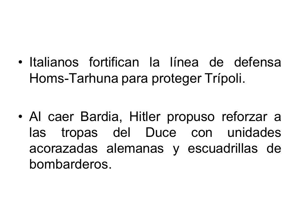 Italianos fortifican la línea de defensa Homs-Tarhuna para proteger Trípoli. Al caer Bardia, Hitler propuso reforzar a las tropas del Duce con unidade