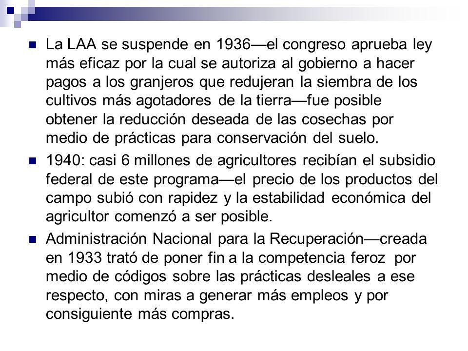 La LAA se suspende en 1936el congreso aprueba ley más eficaz por la cual se autoriza al gobierno a hacer pagos a los granjeros que redujeran la siembr