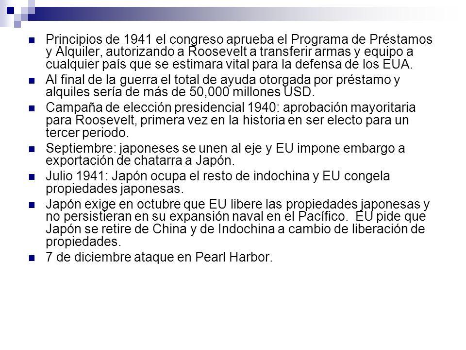 Principios de 1941 el congreso aprueba el Programa de Préstamos y Alquiler, autorizando a Roosevelt a transferir armas y equipo a cualquier país que s