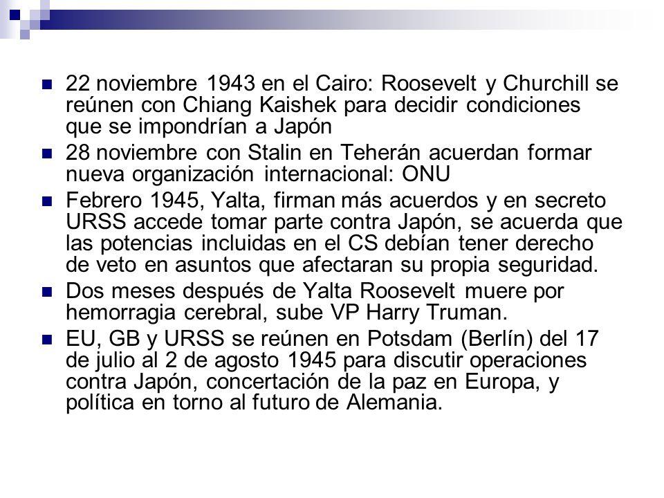 22 noviembre 1943 en el Cairo: Roosevelt y Churchill se reúnen con Chiang Kaishek para decidir condiciones que se impondrían a Japón 28 noviembre con