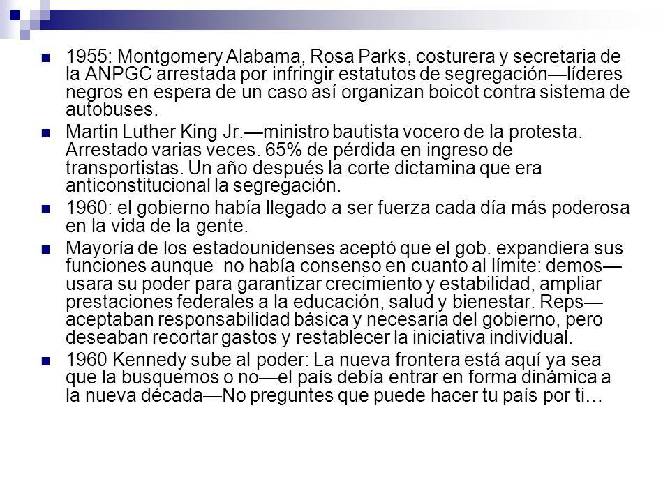 1955: Montgomery Alabama, Rosa Parks, costurera y secretaria de la ANPGC arrestada por infringir estatutos de segregaciónlíderes negros en espera de u