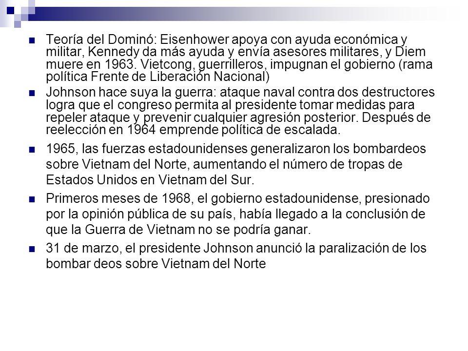 Teoría del Dominó: Eisenhower apoya con ayuda económica y militar, Kennedy da más ayuda y envía asesores militares, y Diem muere en 1963. Vietcong, gu