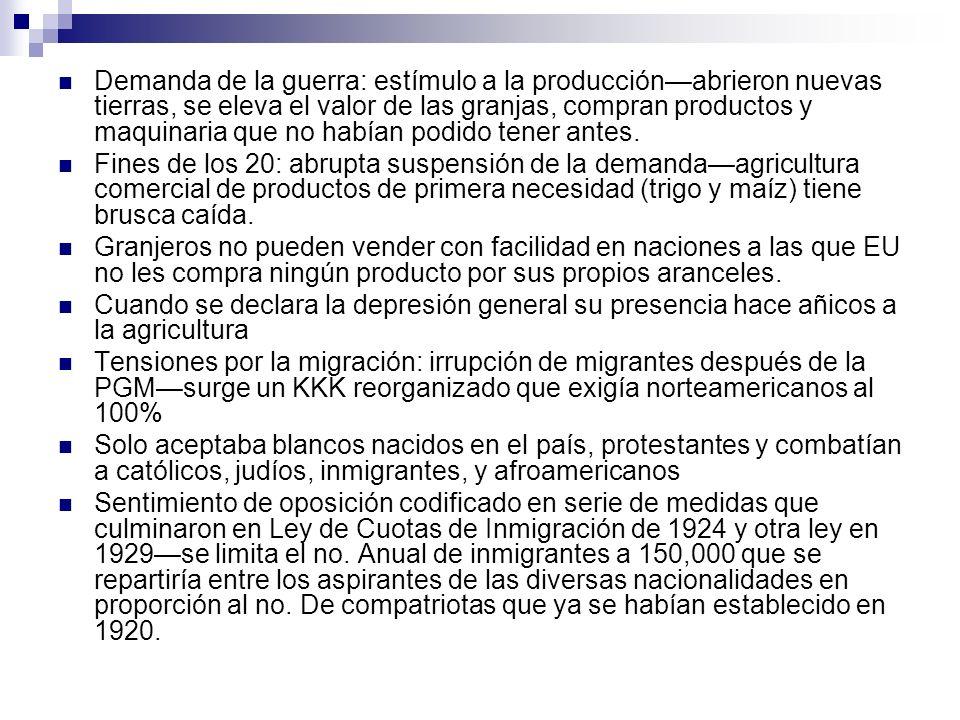 Demanda de la guerra: estímulo a la producciónabrieron nuevas tierras, se eleva el valor de las granjas, compran productos y maquinaria que no habían