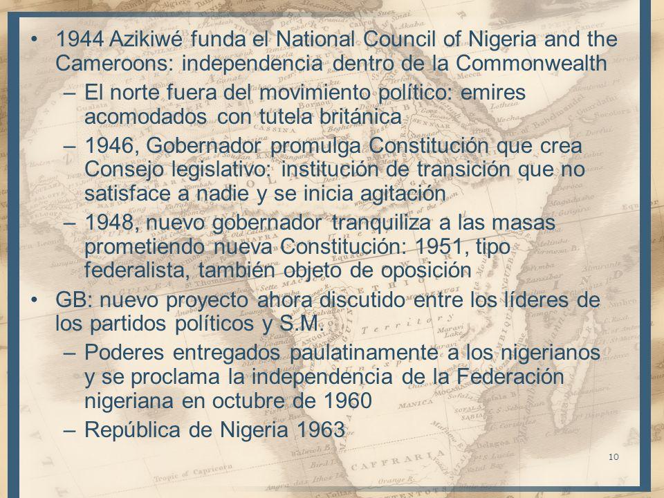 10 1944 Azikiwé funda el National Council of Nigeria and the Cameroons: independencia dentro de la Commonwealth –El norte fuera del movimiento polític