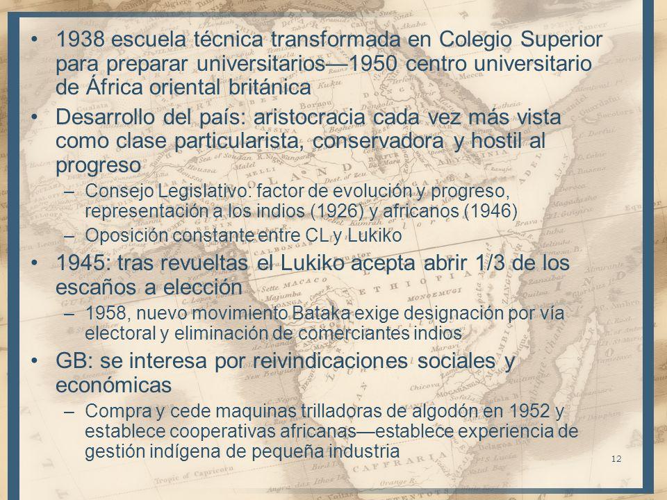 12 1938 escuela técnica transformada en Colegio Superior para preparar universitarios1950 centro universitario de África oriental británica Desarrollo