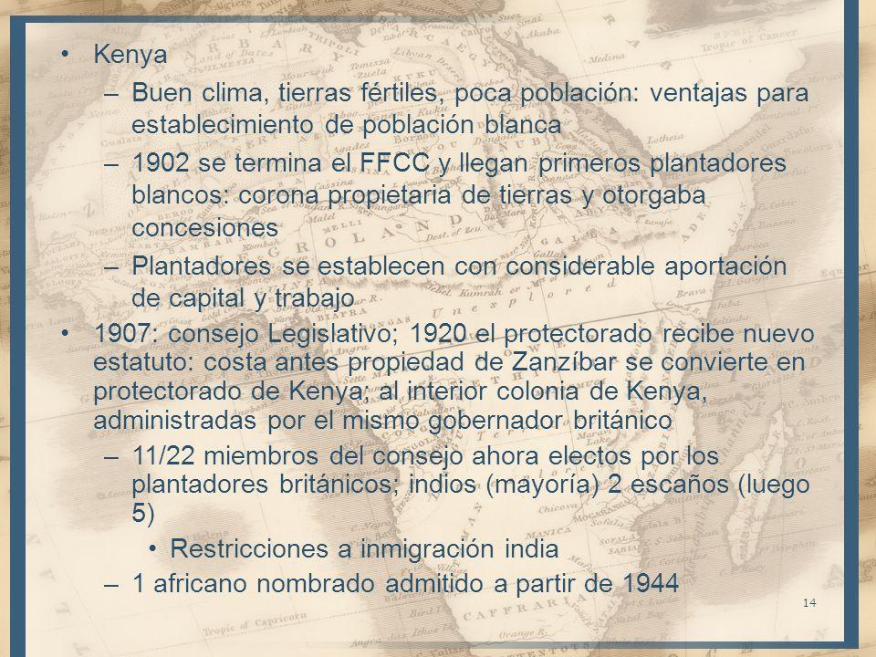 Kenya –Buen clima, tierras fértiles, poca población: ventajas para establecimiento de población blanca –1902 se termina el FFCC y llegan primeros plan