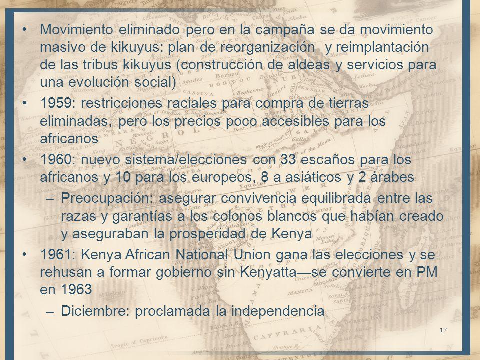 17 Movimiento eliminado pero en la campaña se da movimiento masivo de kikuyus: plan de reorganización y reimplantación de las tribus kikuyus (construc