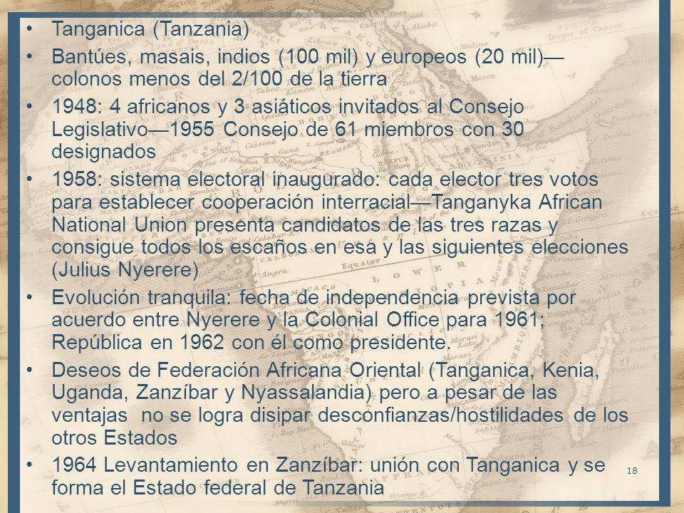 18 Tanganica (Tanzania) Bantúes, masais, indios (100 mil) y europeos (20 mil) colonos menos del 2/100 de la tierra 1948: 4 africanos y 3 asiáticos inv