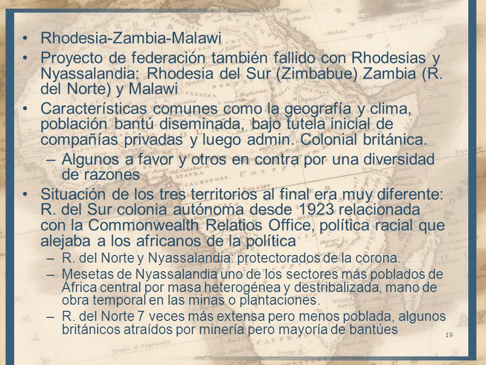 19 Rhodesia-Zambia-Malawi Proyecto de federación también fallido con Rhodesias y Nyassalandia: Rhodesia del Sur (Zimbabue) Zambia (R. del Norte) y Mal
