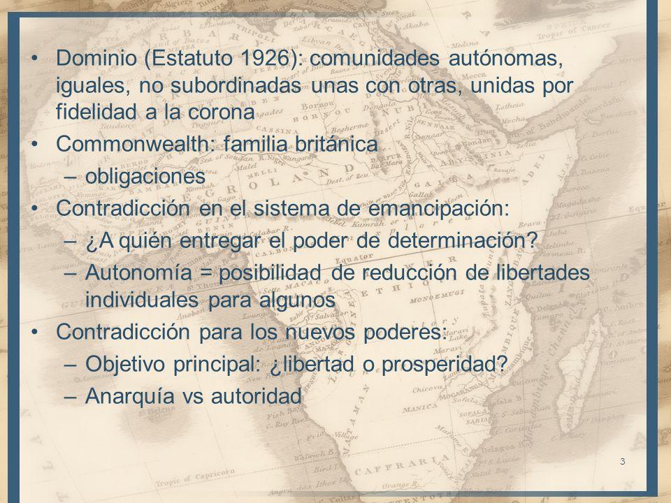 3 Dominio (Estatuto 1926): comunidades autónomas, iguales, no subordinadas unas con otras, unidas por fidelidad a la corona Commonwealth: familia brit