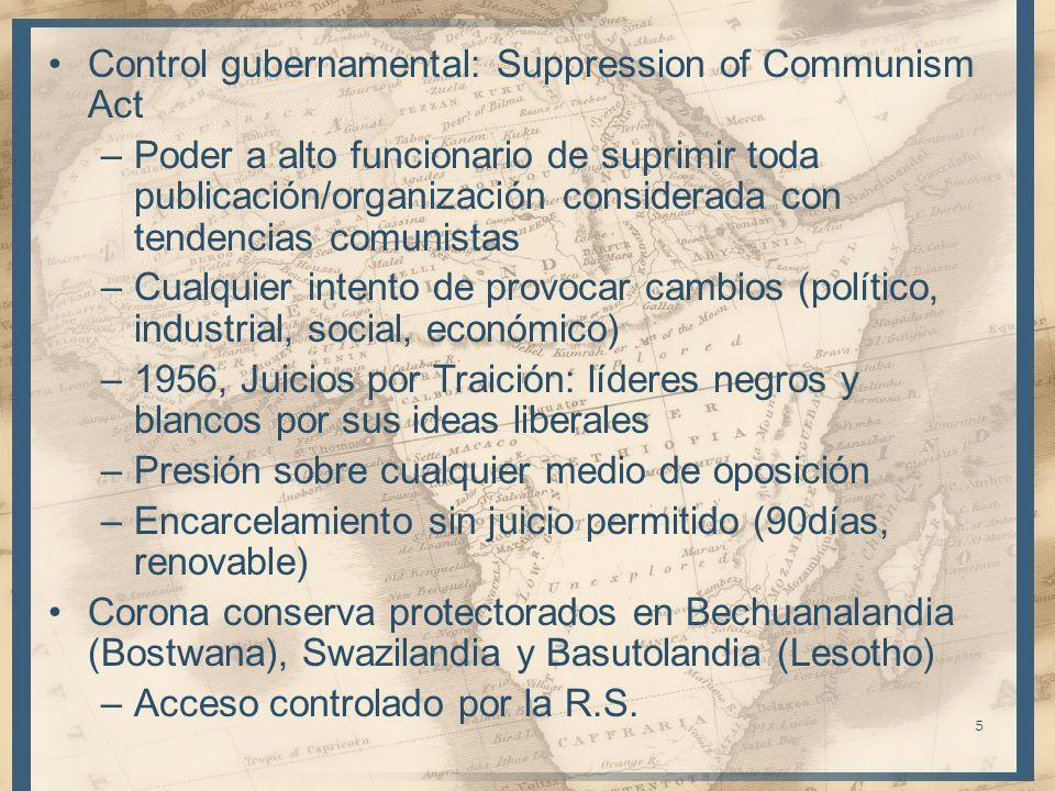 5 Control gubernamental: Suppression of Communism Act –Poder a alto funcionario de suprimir toda publicación/organización considerada con tendencias c
