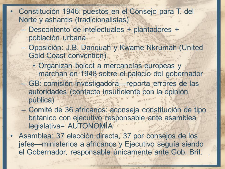 7 Constitución 1946: puestos en el Consejo para T. del Norte y ashantis (tradicionalistas) –Descontento de intelectuales + plantadores + población urb