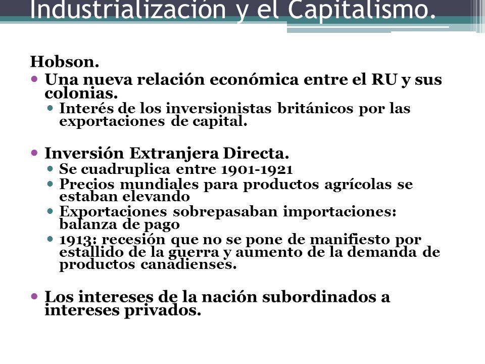 Industrialización y el Capitalismo. Hobson. Una nueva relación económica entre el RU y sus colonias. Interés de los inversionistas británicos por las