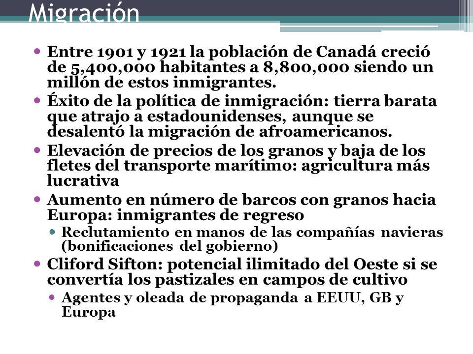 Migración Entre 1901 y 1921 la población de Canadá creció de 5,400,000 habitantes a 8,800,000 siendo un millón de estos inmigrantes. Éxito de la polít