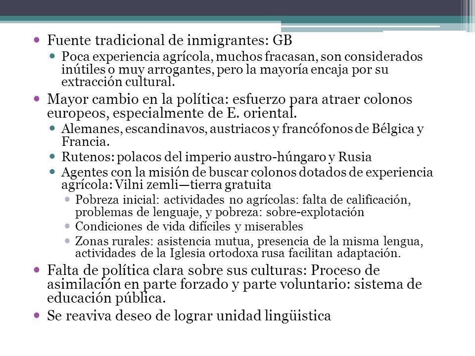 Fuente tradicional de inmigrantes: GB Poca experiencia agrícola, muchos fracasan, son considerados inútiles o muy arrogantes, pero la mayoría encaja p