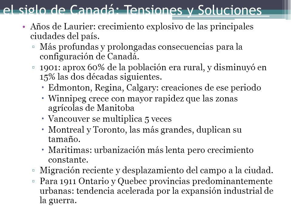 el siglo de Canadá: Tensiones y Soluciones Años de Laurier: crecimiento explosivo de las principales ciudades del país. Más profundas y prolongadas co